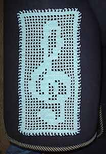 MUSIC NOTES BLACK CROCHET AFGHAN PATTERN GRAPH EMAILED